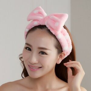 Cute-L-Pink-Big-Bow-Dot-Soft-Towel-Hair-Band-Wrap-Headband-For-Bath-Spa-Make-Up