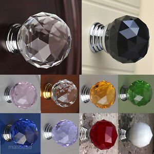 30mm-Crystal-Glass-Door-Knob-Drawer-Pull-Cabinet-Kitchen-Handle-Wardrobe-10Color