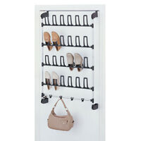 12-Pair Shoe Rack With Hooks In Black And