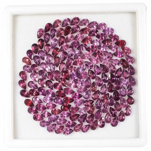 VVS 150 Pcs Natural Rhodolite Garnet 5mm/3mm Pear Cut Top Quality Gemstones Lot
