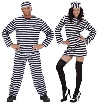 Damen Herren Kostüm STRÄFLING Häftling Gefangene Knasti Verbrecher - Gefangener Kostüm Damen
