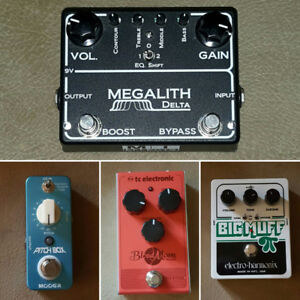 Big muff. Pitch box. Blood moon. Megalith delta. pedals