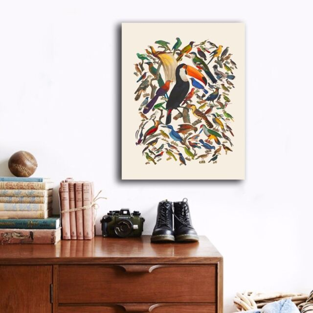 50×65×3cm Birds Canvas Prints Framed Giclee Wall Art Home Decor Painting Gift