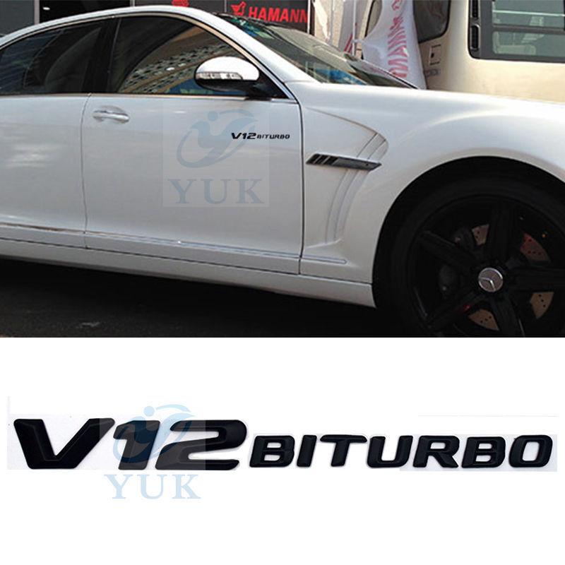 Black V12 BiTurbo Badge 3D Emblem For Mercedes-Benz SLCL65
