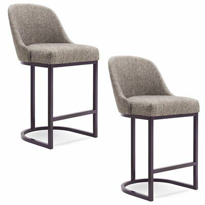 "Leick Favorite Finds 30"" Upholstered Bar Stool in Gray (Set of 2)"