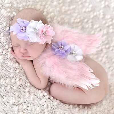 Newborn Baby Feather Crown Headband Angel Wings Photo Party Props Costume UKXN