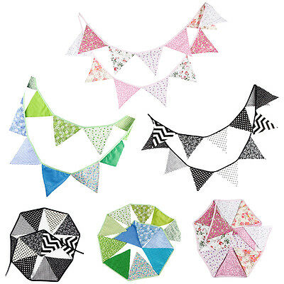 12 Flags 3.2m Fabric String Flags Wedding Birthday Party Pennant Bunting Banner - Fabric Pennant Banner