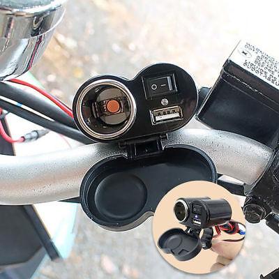 Motorcycle Waterproof 12V Cigarette Lighter Socket + Phone GPS USB Power Charger