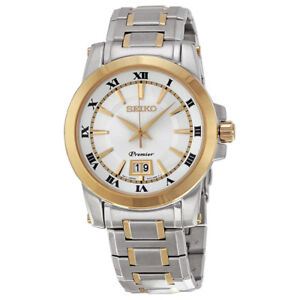NEW Seiko Premier SUR016P1 Mens 2-Tone Stainless Steel Watch