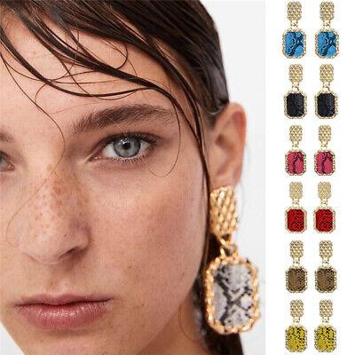 2019 Charm Women Big Square Pendant Snake Skin Pattern Statement Dangle Earrings
