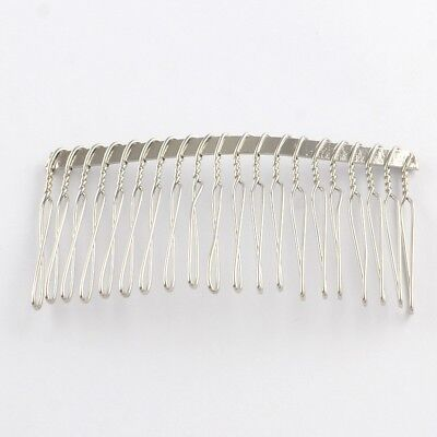 10 x 73x38 20 Teeth Silver Metal Hair Combs Bridal Crafts UK SELLER Wholesale