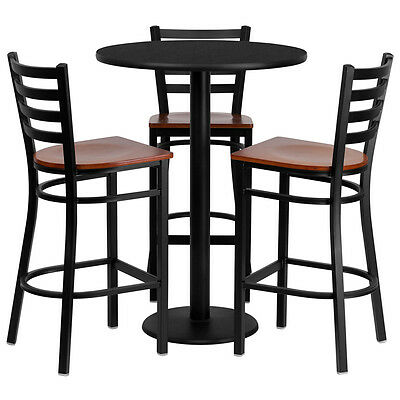 Set Of 10 Round High-top Restaurantcafebar Table And Cherry Seatchair Set