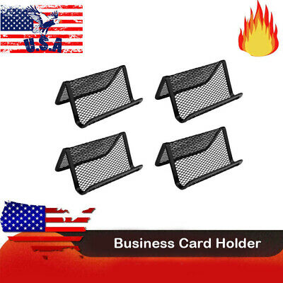 4 Pcs Metal Mesh Business Card Holder Display Organizer Stand Office Desk