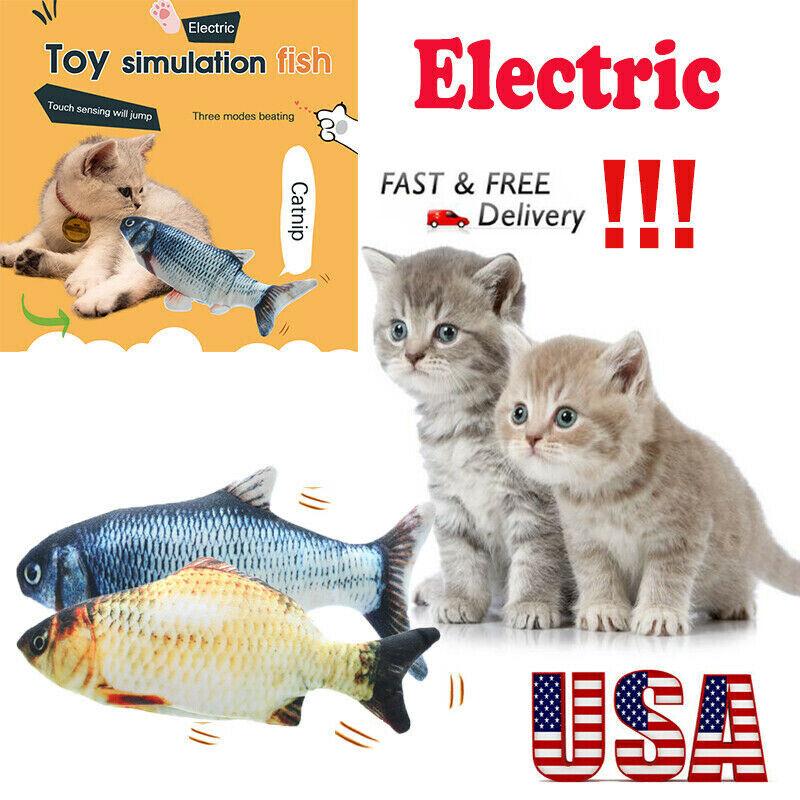 Electric Wagging Fish Cat Stuffed Toy Realistic Plush Simulation Fish Catnipmint