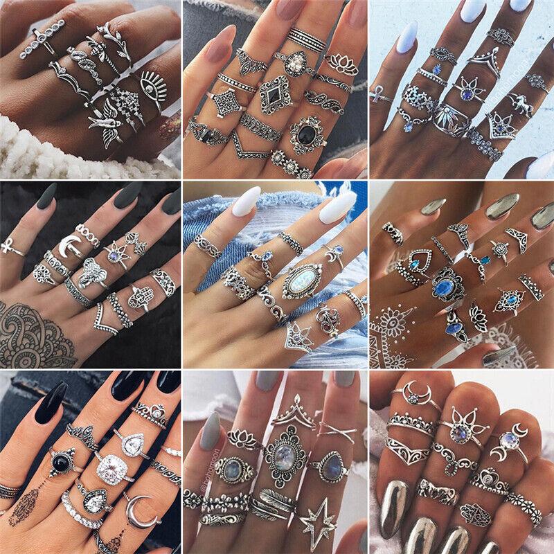 Fashion Gold Midi Finger Ring Set Vintage Punk Boho Knuckle