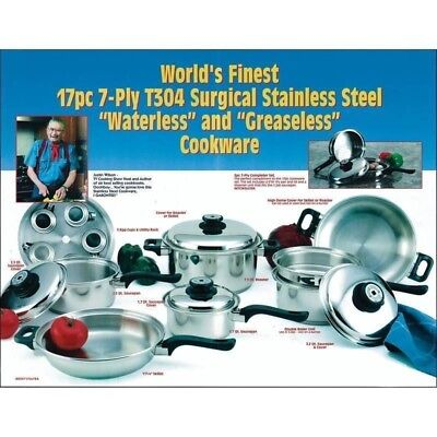 - Worlds Finest Stainless Steel Cookware Set Waranty USA Made 17pc 7ply Steam ctrl