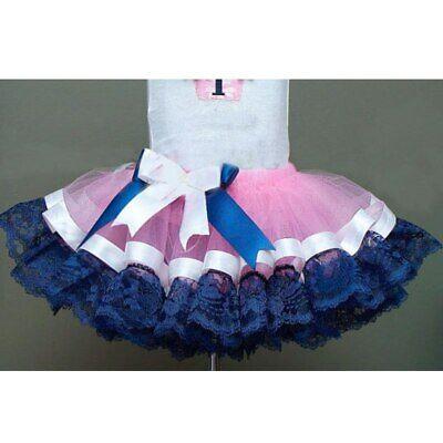 Royal Blue And Pink (Pink Royal Blue Ribbon Trim Playtime Tutu, Ribbon Trim Tutu, Pink and Royal)