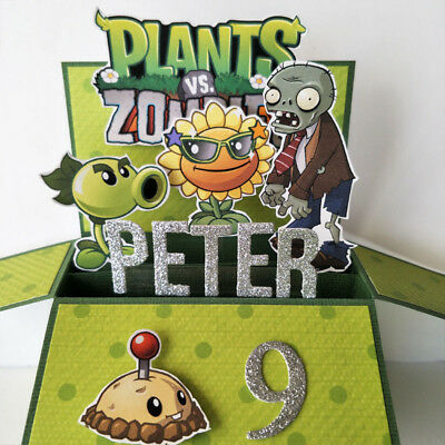 Handmade NAME & AGE PERSONALISED Plants vs Zombies birthday card for boys