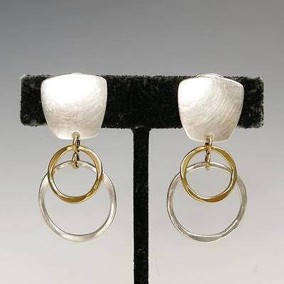Marjorie Baer Rectangle with Linked Rings Clip on or Post Earrings Unique Modern