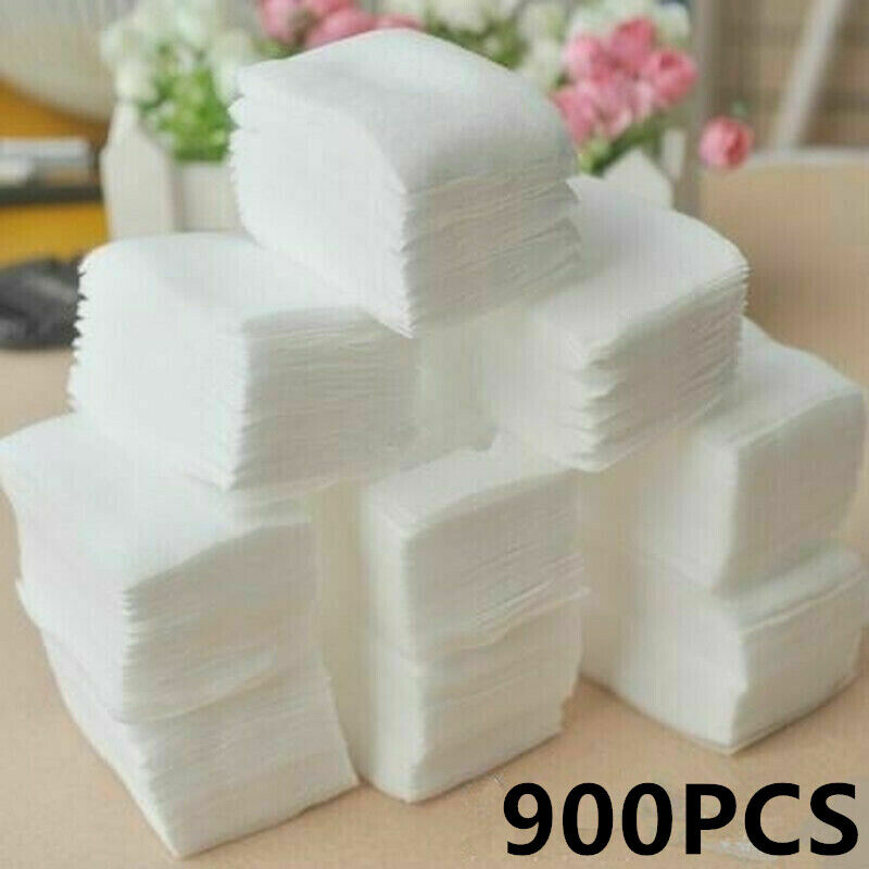 900pcs Lint Free Nail Wipes Cotton Pads Polish Remover Cleaner Manicure Tool US