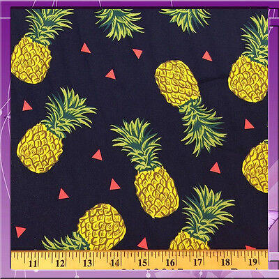 "100% DOUBLE WEIGHT RAYON PINEAPPLE NAVY BLUE BACKGROUND FABRIC 58"" WIDE SOLD BTY"