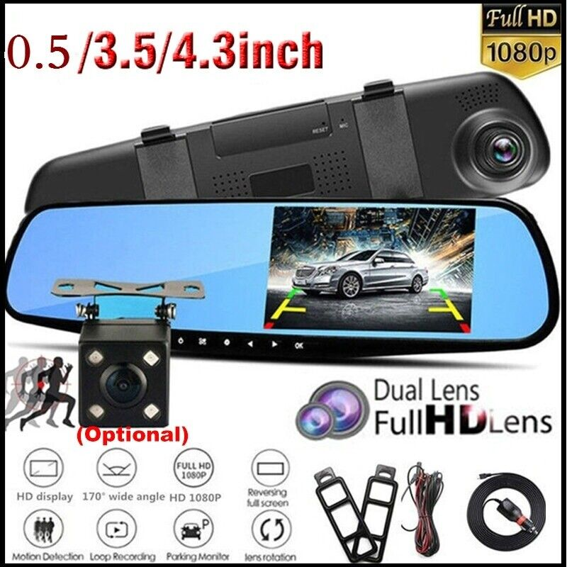 "3.5"" HD 1080P Dual Lens Car DVR Dash Cam Video Camera Record"