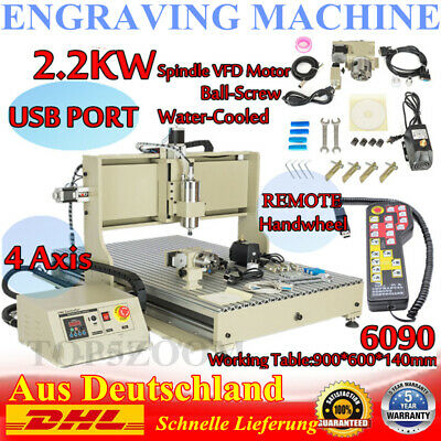 Usb 4axis 2.2kw Cnc 6090z Router Engraver Machine Wood Milling Cuttinghandwheel