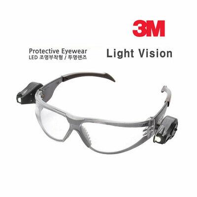 3M Dual LED SAFETY GLASSES Light Vision camping Clear Anti fog Lens flashlight