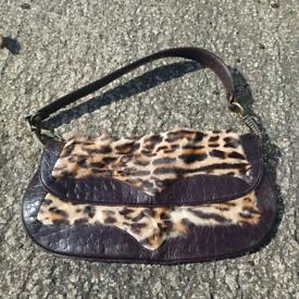 Italian Leather handbag w Leopard print