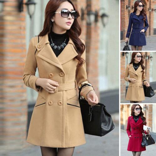 Women Gothic Trench Coat Ladies Winter Wool Blend Slim Fit Jacket Outwears S-3XL