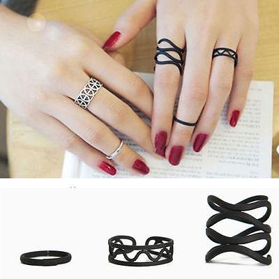 Women Punk Gothic Black Stack Plain Above Knuckle Ring Midi Finger Tip Rings Set