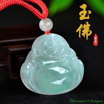 Burma Certified Grade A Natural Untreated Waxy Jadeite Jade Laughing Buddha#2435