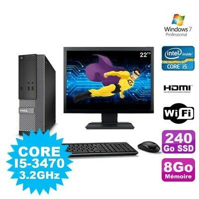 Lot PC DELL 3010 SFF I5-3470 DVD 8Go 240Go SSD HDMI Wifi W7 + Ecran 22