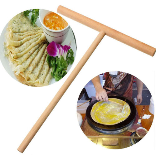 1Pc Crepe Maker Pancake Batter Wooden Spreader Stick Home Ki