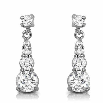 "Round Cut CZ Dangle Post Stud Earrings White Cubic Zirconia 18 mm or 0.7"" in"