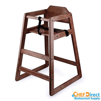 Restaurant Wooden High Chair Child Seat With Seat Belt - Mahogany Finish