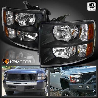 2007-2014 Chevy Silverado 1500/2500/3500HD Black Replacement Headlights PAIR