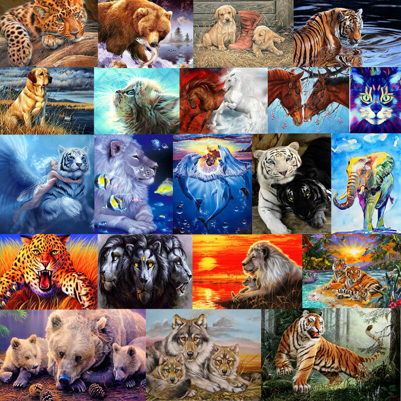 DIY Animal Felidae Tiger Paint By Number Kit Oil Painting Wall Decor On Linen