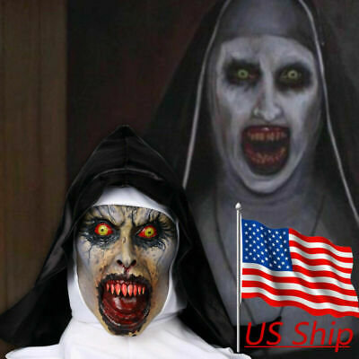 The Nun Valak Mask New The Conjuring Scary Mask Halloween Horror Cosplay Props (Scary Nun Mask)