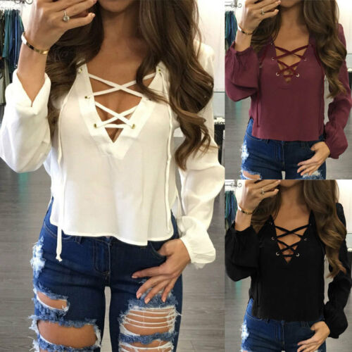 $7.99 - US Fashion Women Ladies Long Sleeve Loose Blouse Summer V Neck Casual Shirt Tops