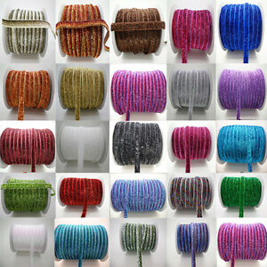 Hot-5yards-3-8-10mm-Sparkle-Glitter-Velvet-Ribbon-Headband-Clips-Bow-Decoration