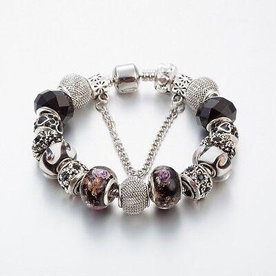 925- Silber plt. Bettelarmband Armband mit 15 Charms Charm Bracelet Länge 20cm (Armband Mit Charms)