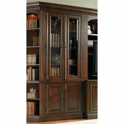 - Bowery Hill 4 Shelf Glass Door Bookcase in Dark Brown and Rich Cherry