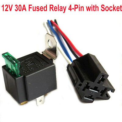 Car Auto Relay Dc12v 4pin Spst Awg Wires Harness30amp Blade Fuse Holder