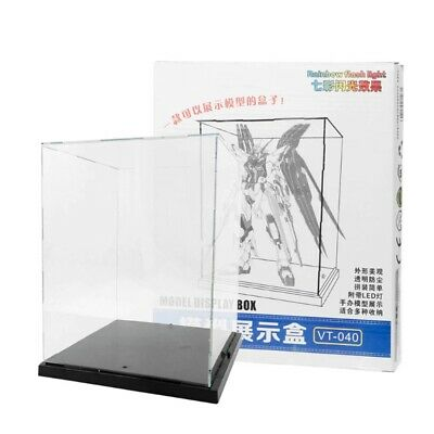 Clear Acrylic Display Box With Colorful Light Dustproof Action Figure Showcase