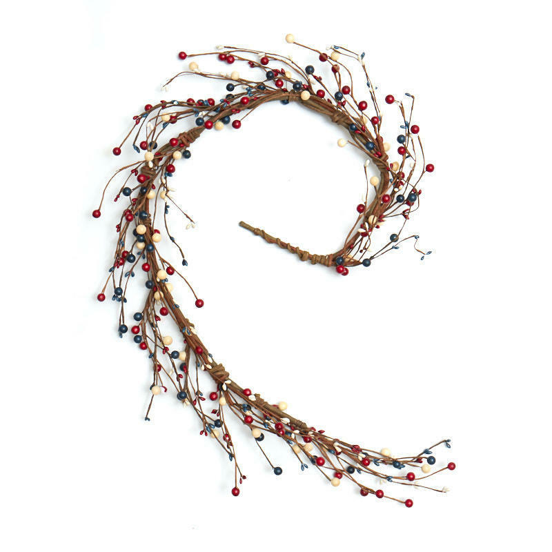Americana Mixed Berry and Pip Berry Red White & Blue 4ft Garland