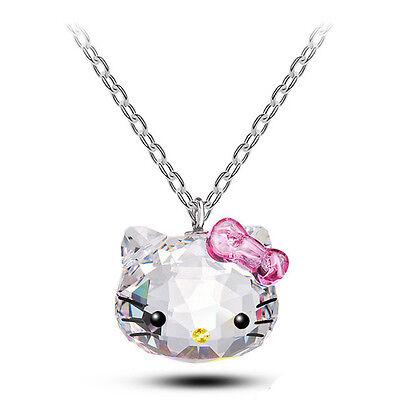 Hello Kitty Swarovski Zircon Crystal Pendant Necklace