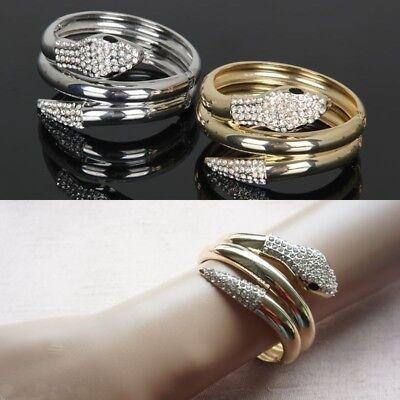 Gold Schlange Armband (Armreif Schlange Armband Armschmuck Armspange Strass Gold Silber Snake Bracelet)
