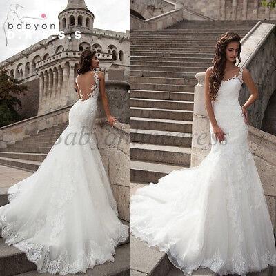 Lace Mermaid White Ivory Wedding Dress Bridal Gown Custom Size 6 8 10 12 14 16