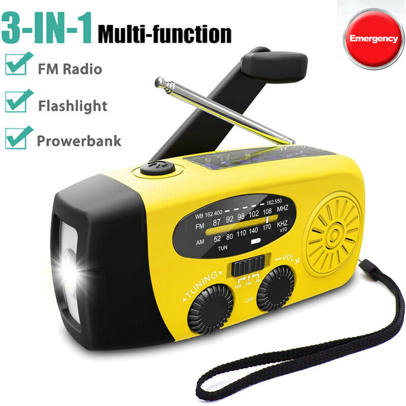 Emergency Solar Hand Crank NOAA Weather Radio Power Bank Charger Camping Tool